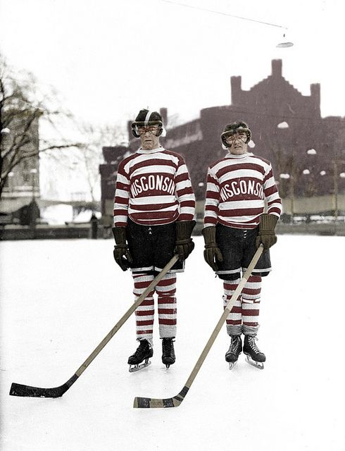 Colorized photo of vintage U of Wisconsin hockey players.
