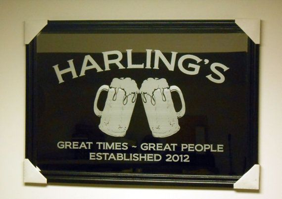 "Custom Engraved / Personalized 24"" x 36"" Black Bar Mirror: Gift for Weddings, Housewarming, Groomsmen, Corporate Clients"