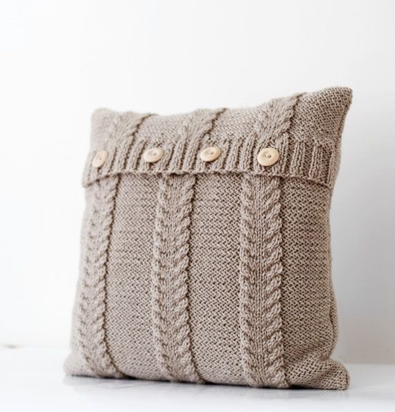 Cable knit beige pillow cover - handmade decorative pillows case - natural earth color living and home decor 16x16 on Etsy, $55.00