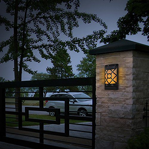 Solar Wall Lights, B Right Led Flame Flickering Night Light Waterproof  Landscape Pathway Lights