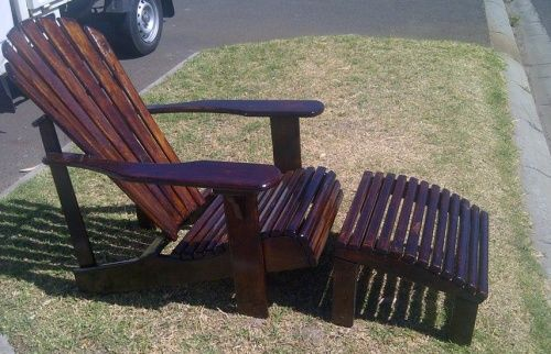 Great for relaxing on the deck, porch or patio. We make foot stools that go with and deck chair/lounger.