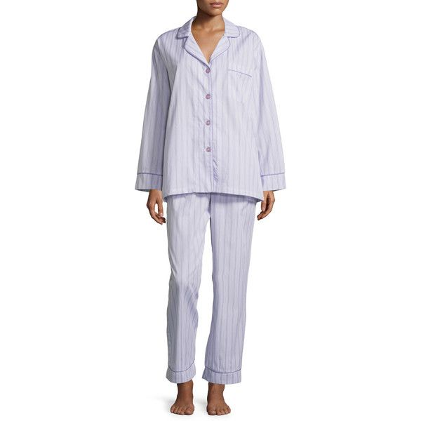 Bedhead Striped Classic Poplin Pajama Set ($76) ❤ liked on Polyvore featuring plus size women's fashion, plus size clothing, plus size intimates, plus size sleepwear, plus size pajamas, lavender stripe, striped pajamas, long sleeve pyjamas, long sleeve sleepwear and striped pyjamas