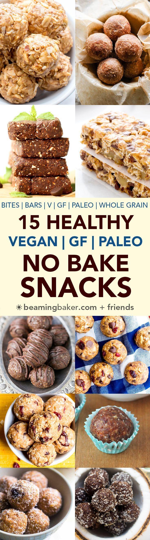 15 Healthy Gluten Free Vegan No Bake Snacks: a tasty collection of 15 easy, no bake recipes for gluten free vegan snacks that are good for ya! #Vegan #GlutenFree #Paleo #DairyFree | http://BeamingBaker.com