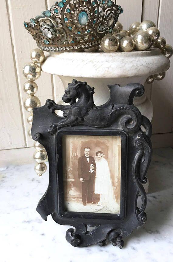 1800s antique French gutta percha / vulcanite picture frame