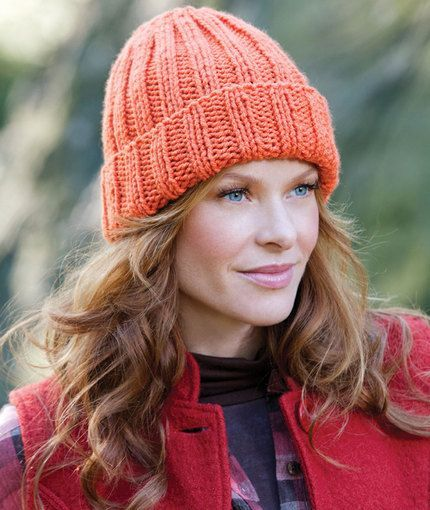 Redheart Easy-Fit Ribbed Hat. It's surprisingly hard to find a flat-knit hat, and given that I don't have circular needles (or know how to knit in the round), I'm excited to try this pattern!