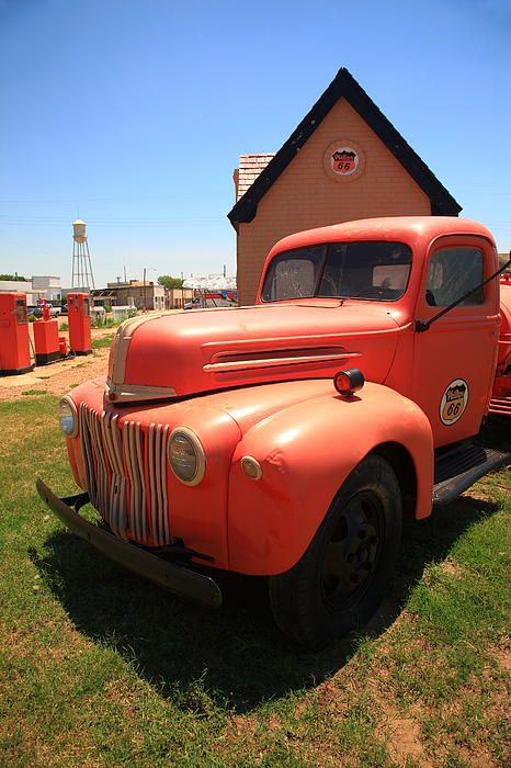 """Route 66. Pickup truck outside the Phillips 66 filling station in McLean, Texas. """"The Fine Art Photography of Frank Romeo."""""""