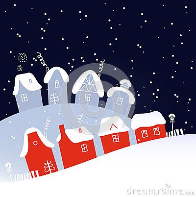 Christmas village on snowing background. Vector Illustration