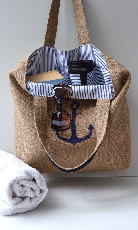 Navy Blue burlap beach bag Tote Bag blue striped by MilaMoss