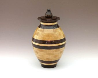 Turned Wooden Urns | Wooden Cremation Urn for Human Ashe s - Hand Turned Segmented Wood Urn ...