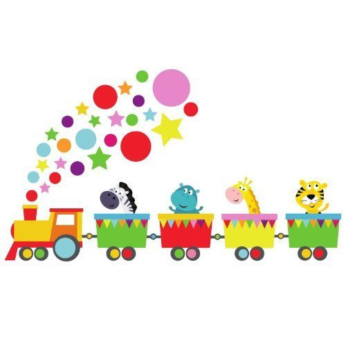 Jungle animals train wall sticker by Stickerscape - Tiger, Giraffe, Hippo, Zebra - Transport - Removable - wall decal - wall graphic - wall decal (Regular) by Stickerscape, http://www.amazon.co.uk/dp/B00CQJUSXM/ref=cm_sw_r_pi_dp_lpnxtb10Z9SX0