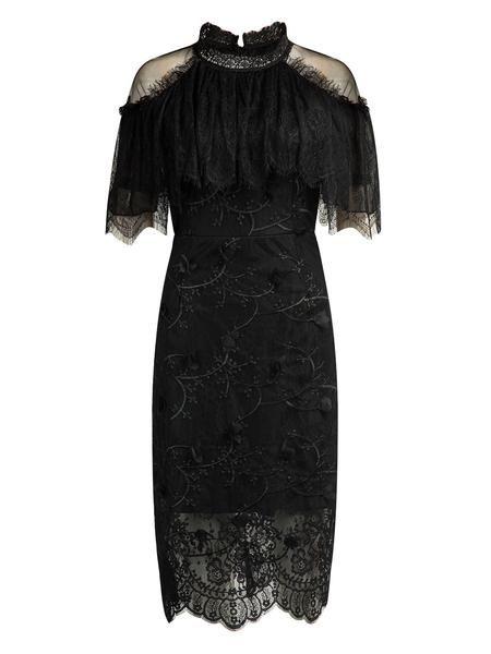 Black Cold Shoulder High Neck Cape Detail Lace Midi Dress