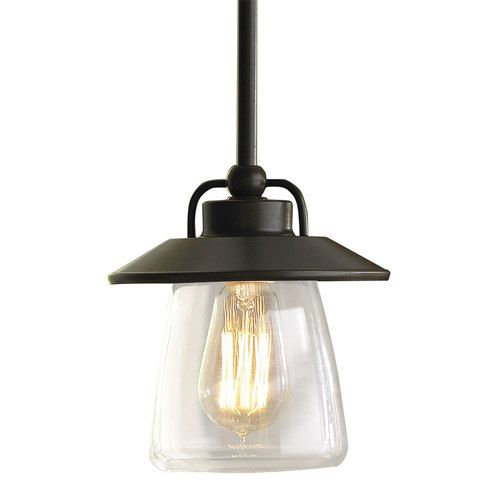 "allen + roth 6-7/8"" Mission Bronze Pendant Light with Clear Shade $58 lowes. 2-3 over the bar"