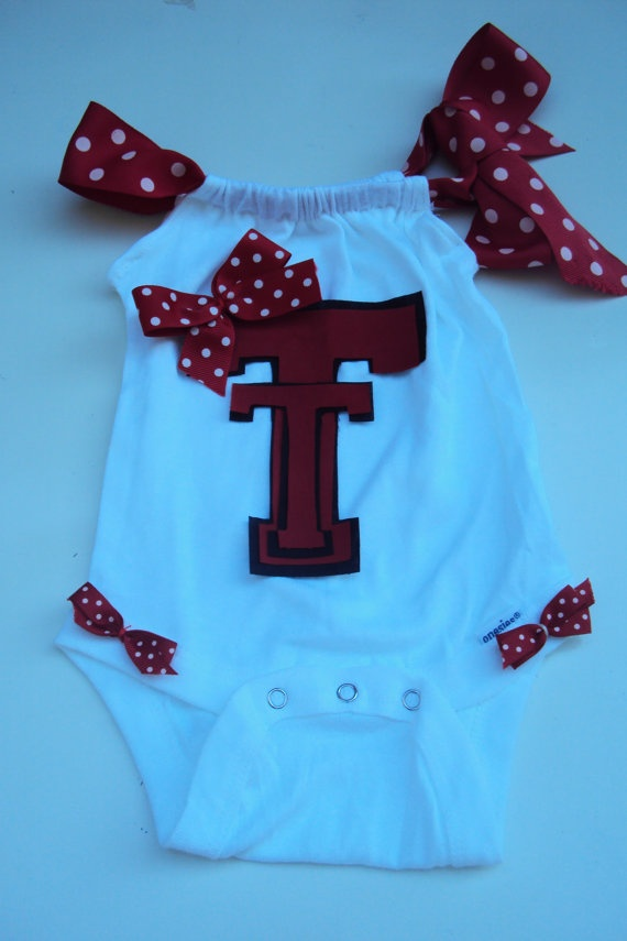 This is for you Ashley Stacy Rodriquez!Toddler Girls Baby Girls Texas Tech Romper Onesies by DaintyBoTeek