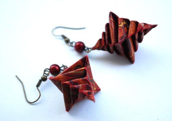 Origami Earrings Dangle Earrings Modern Earrings by MAGcraftsy, $13.99