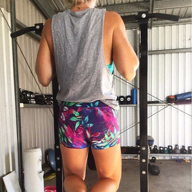 @sarahfinafitness working out in our limited edition zen garden core short. Looking good Sarah #regram