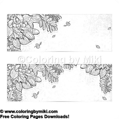 Autumn Leaves And Acorns Bannars Coloring Page 1228 Ultimate