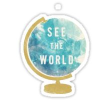 'See the world' globe Pegatina