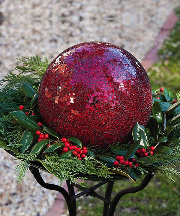 Look at this Red Mosaic Glass Gazing Ball on #zulily today!