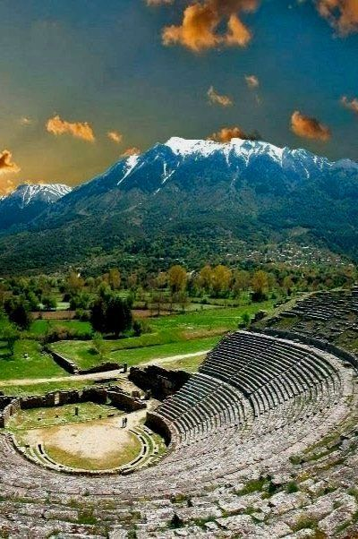 The ancient theater in the village of Dodoni in Epirus,  a geographical and historical region in southeastern Europe, now shared between Greece and Albania.