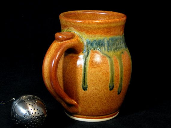 Pottery mug 5 tall orange brown and blue by dougsmithpottery 24 00