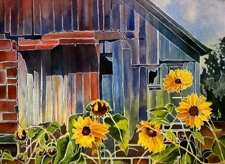 """TOP TEN Things Every Watercolorist Should Know About BLUE -- 4) Blues have what's called a """"hue bias"""" -- the different mixing potential of each blue (whether the color leans toward green or red) -- (""""The Blue Barn"""", watercolor by Pat Howard)"""