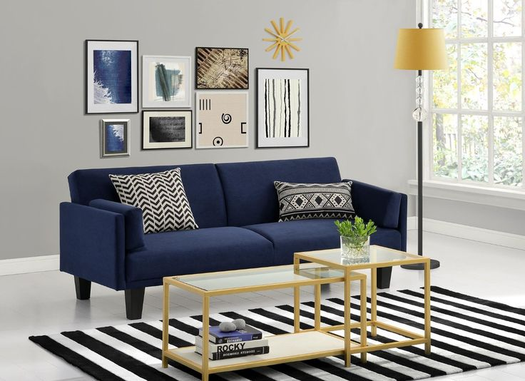 dhp metro navy blue futon sofa bed with soft microfiber upholstery and sleek midcentury design perfect in your living room office or bedroom