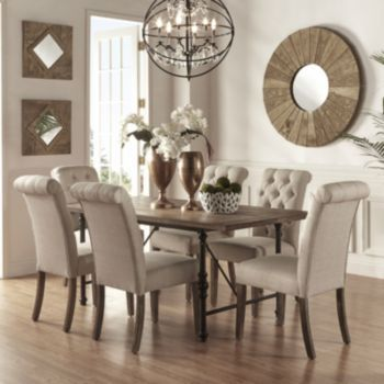 HomeVance Blanche 7 Piece Table And Chair Dining Set