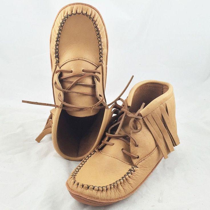 Women's Moosehide Fringe Ankle Moccasins Boots - BB4219F