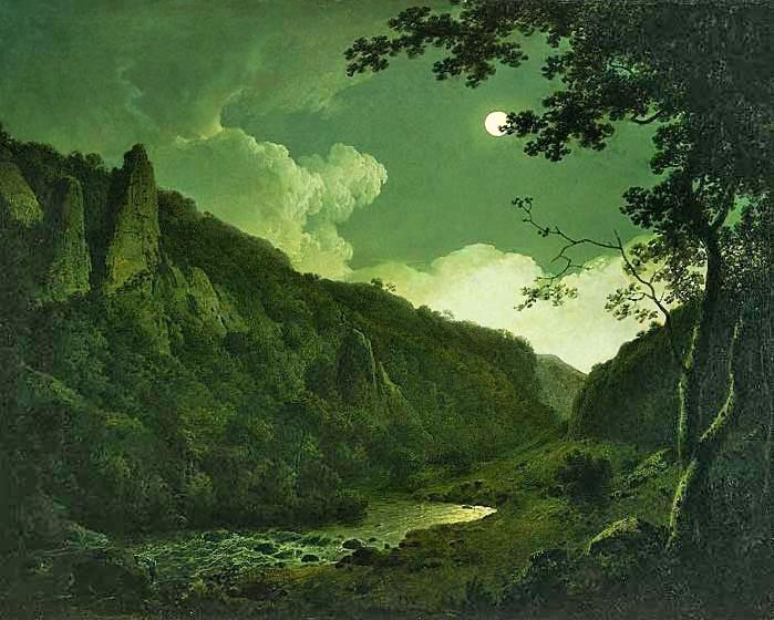 Joseph Wright of Derby: Dovedale by Moonlight, 1785. Allen Memorial Art Museum, Ohio.