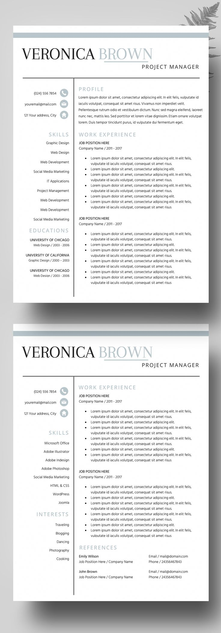 graphicriver resume cv template clean and professional