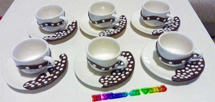 Set tazze da caffè  in fimo pan di stelle decorate a mano