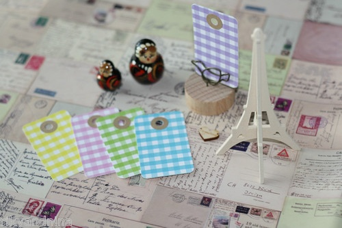 20 recycled GINGHAM Card Tags w Kraft REINFORCED Hole DIY craft gift tag label: Gingham Card, Card Tags, Diy Crafts, Gift Tags