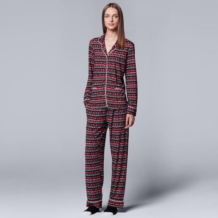 Women's Simply Vera Vera Wang Pajamas: North Isles Top, Pants & Socks PJ Set, Size: Medium, Silver