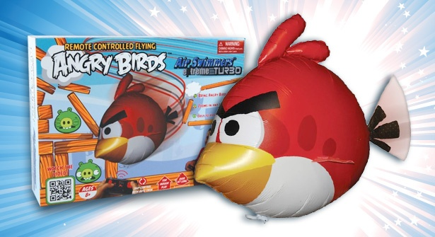 Play the world's most popular gaming app in real life! Put an end to egg-stealing antics with the Angry Birds Air Swimmer; simply fill the giant balloon with helium & take command using the remote control – save 70% on EPIC family fun!