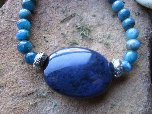 Handcrafted beaded gemstone iolite apatite by canyonviewjewelry