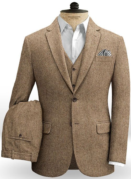 2eb4e74c380a Irish Brown Herringbone Tweed Suit   StudioSuits  Made To Measure Custom  Suits