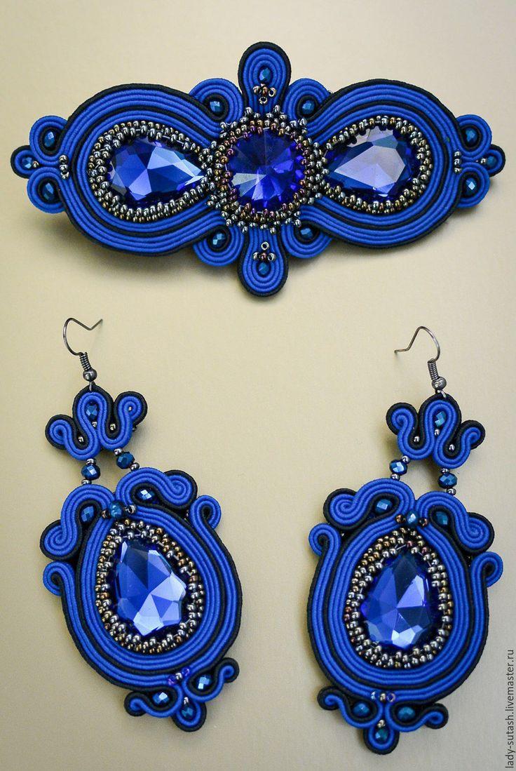 Купить Комплект 2 - синий, сутажные украшения, сутажные серьги, сутажная техника, заколка для волос