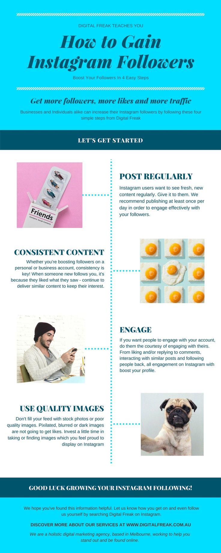 Get more #Instagram followers in 4 Easy Steps. Simple but effective #SocialMedia advice for free from #DigitalFreak