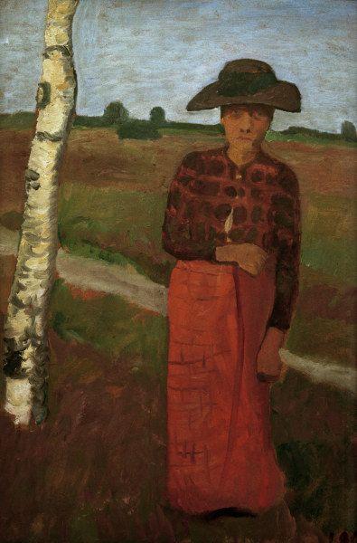 Paula Modersohn-Becker - German Expressionism - Woman next to birch Tree - Bäuerin an Birke