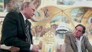 The Putin Interviews review  first Oliver Stone loses. Then the gloves come off  link to original article  The film-maker is taking heat for snuggling up to the Russian president in his new documentary. In fact he got unique access to Vladimir Putins jet dacha ice-hockey rink  and violent homophobic humour http://nonsensefiltr.tumblr.com/post/161961441048/the-putin-interviews-review-first-oliver-stone