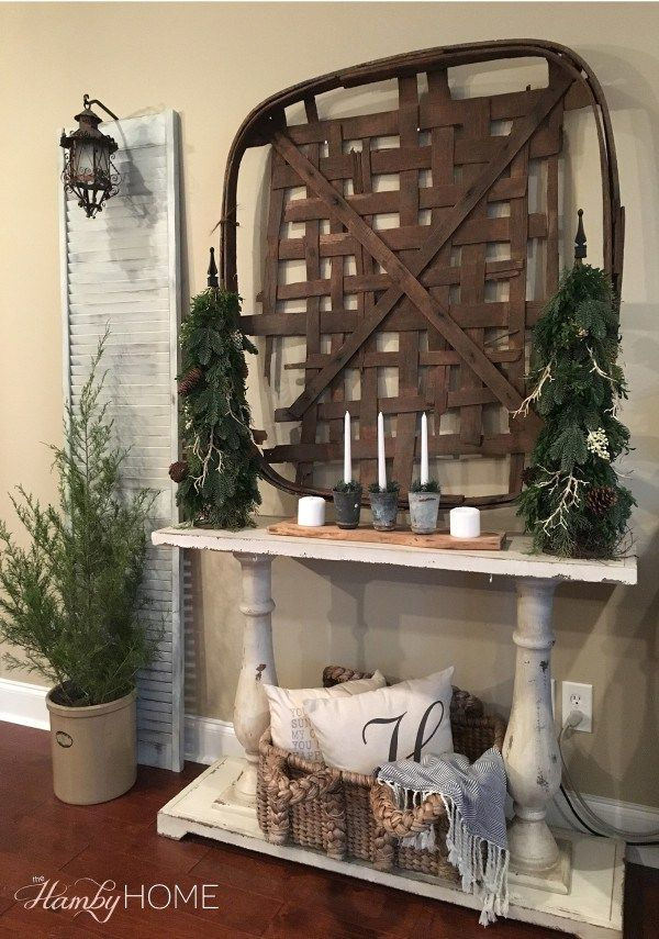 Wall Decor Using Baskets : Neutral winter decor tobacco basket the hamby home