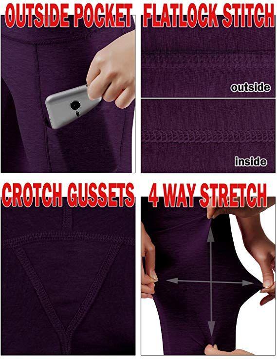 81ea943235fab Amazon.com: ODODOS High Waist Out Pocket Yoga Pants Tummy Control Workout  Running 4 Way Stretch Yoga Leggings: Clothing