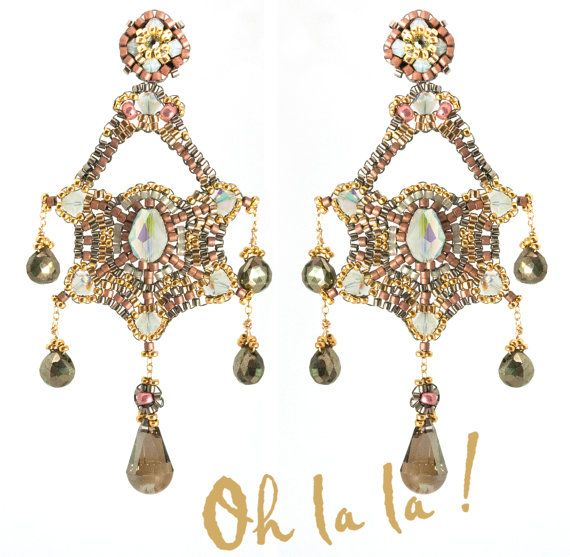 Swarovski Pyrite and Gold Fill Bridal Statement by OhlalaJewelry, $145.00