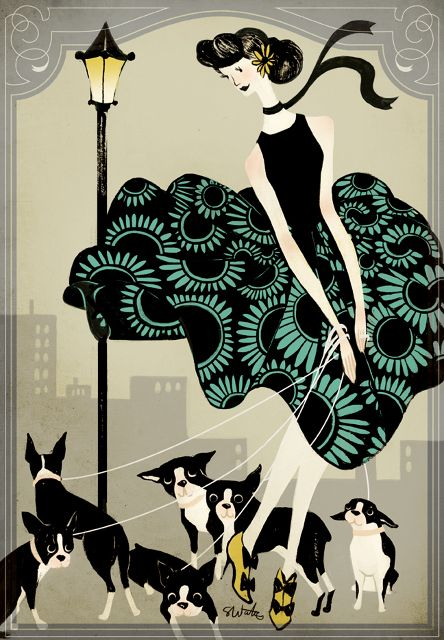 Vintage woman with Boston Terriers
