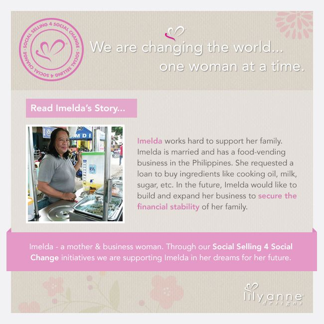 We are changing the world... one woman at a time <3 We believe that when women are empowered, so too are families; communities; the world. When you partner with Lily Anne Designs® you are empowering another woman in a developing country. Read Angelita's story... #LilyAnneDesigns #SocialSelling #ChangingTheWorld