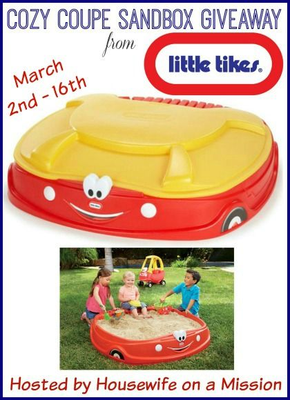Welcome to the Little Tikes Cozy Coupe Sandbox giveaway hosted  by Housewife on a Mission and sponsored by Little Tikes! Spring is just around the corner, and to celebrate one lucky person is going to win a new Cozy Coupe Sandbox from the Little Tikes! Your little one(s) can have hours of fun in this …
