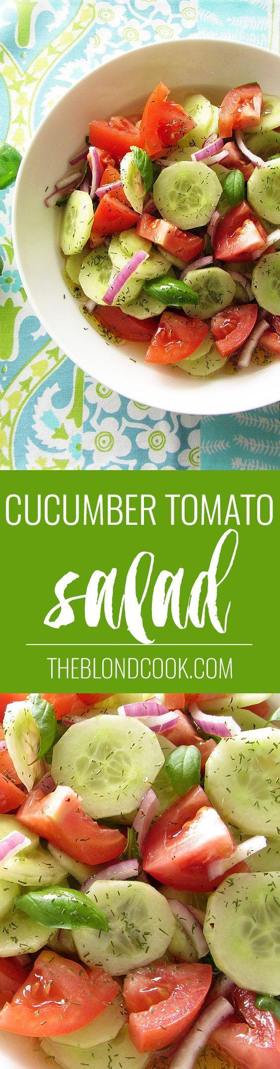 Cucumber Tomato Salad - A healthy salad with a homemade vinaigrette | theblondcook.com: