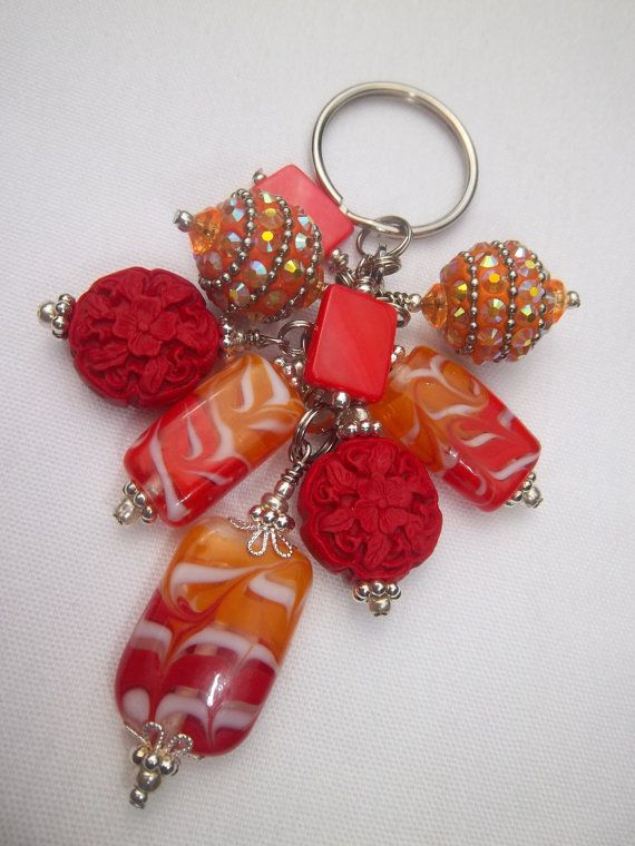 Orange and Red Sunset Beaded Key Chain by TheCraftRoomStore, $13.00
