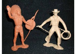 Plastic soldiers: cowboys and Indians.