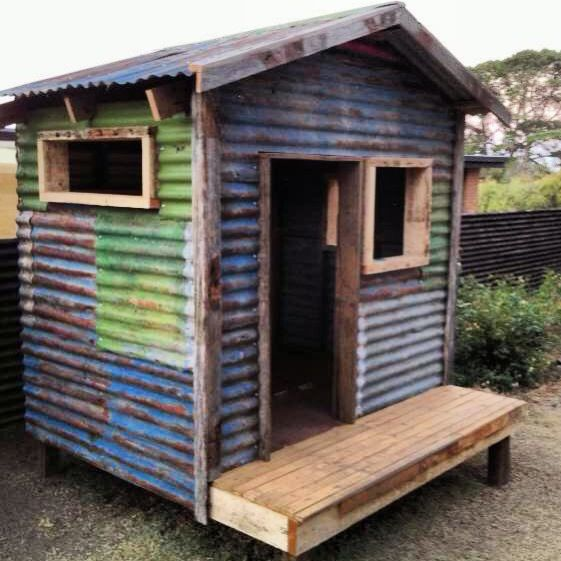 Recycled corrugated iron sustainable cubby shack for Design a shed cubbies